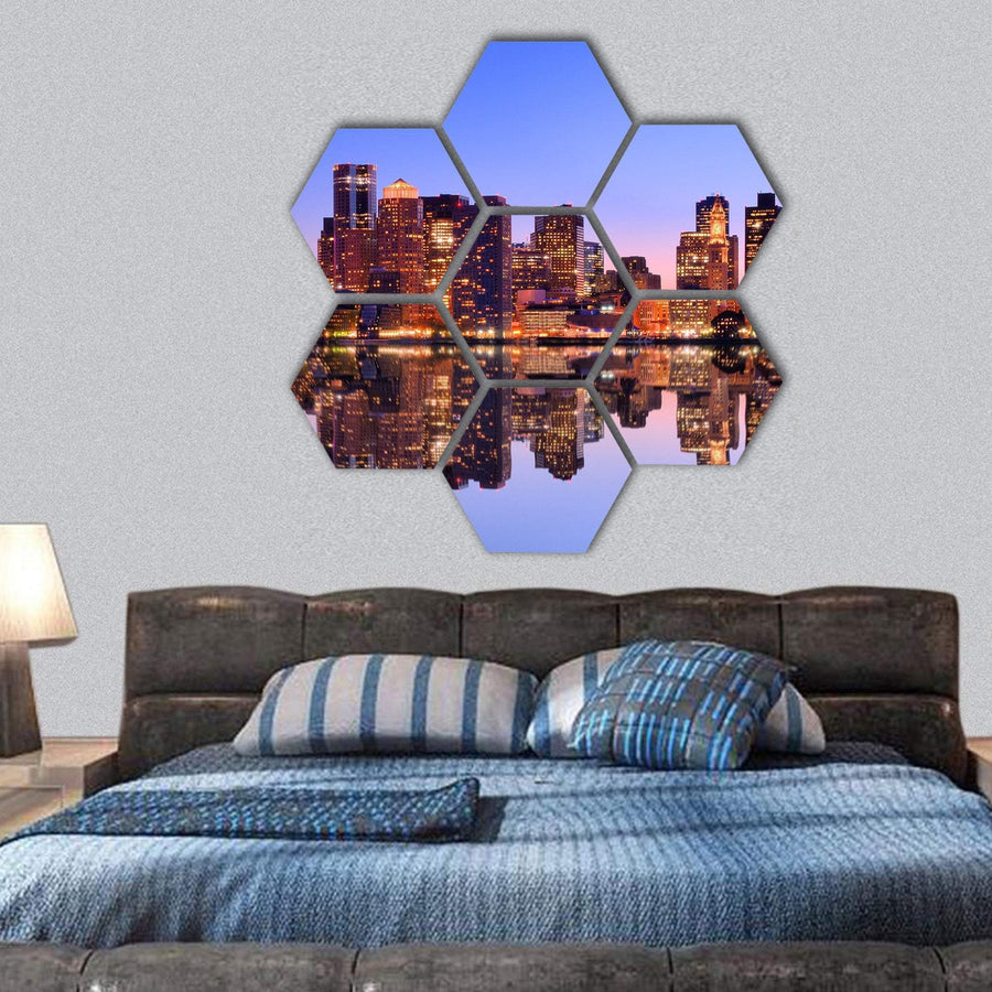 Financial District of Boston Hexagonal Canvas Wall Art 1 Hexa / Small / Gallery Wrap Tiaracle