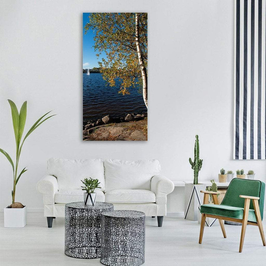 Finnish Lake In Central Finland Vertical Canvas Wall Art 3 Vertical / Small / Gallery Wrap Tiaracle