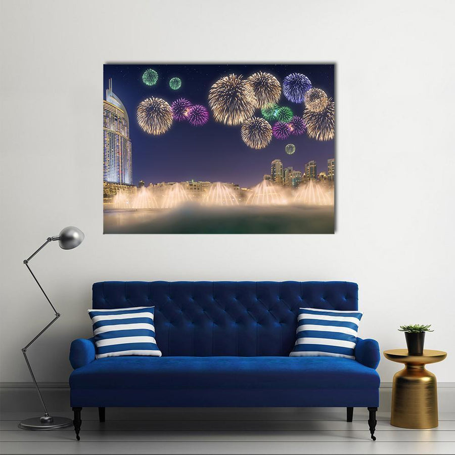 Fireworks Above Dancing Fountain  Multi Panel Canvas Wall Art 4 Horizontal / Small / Gallery Wrap Tiaracle
