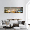 Fireworks In Baku Azerbaijan Panoramic Canvas Wall Art 3 Piece / Small Tiaracle