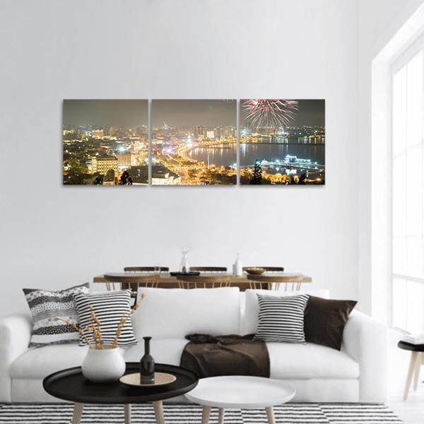 Fireworks In Baku Azerbaijan Panoramic Canvas Wall Art 1 Piece / Small Tiaracle