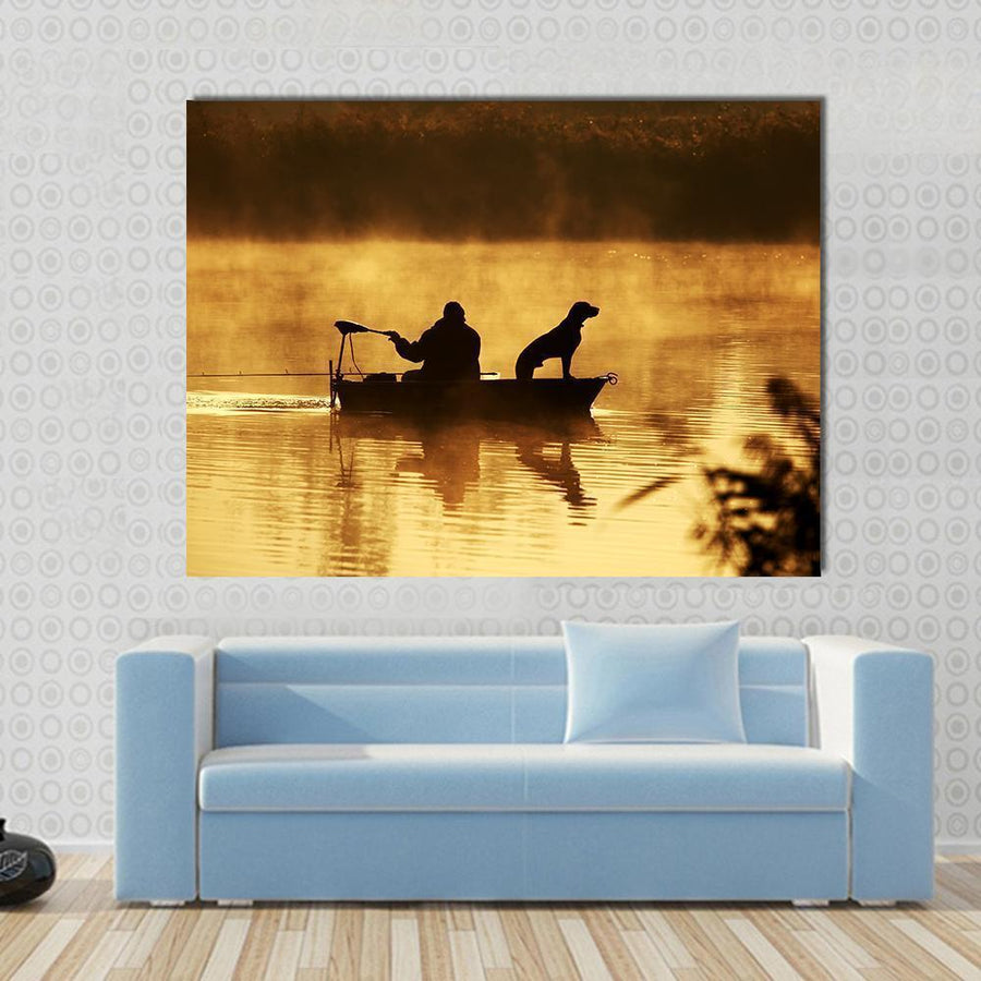 Fisher Man & Dog Silhouette Multi Panel Canvas Wall Art-4 Horizontal-Small-Gallery Wrap-Tiaracle