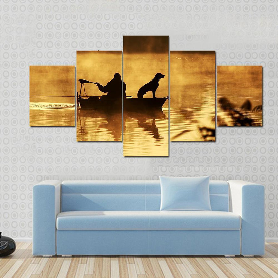 Silhouette Of Fisher And Dog Sitting In Boat Canvas Panel Painting Tiaracle