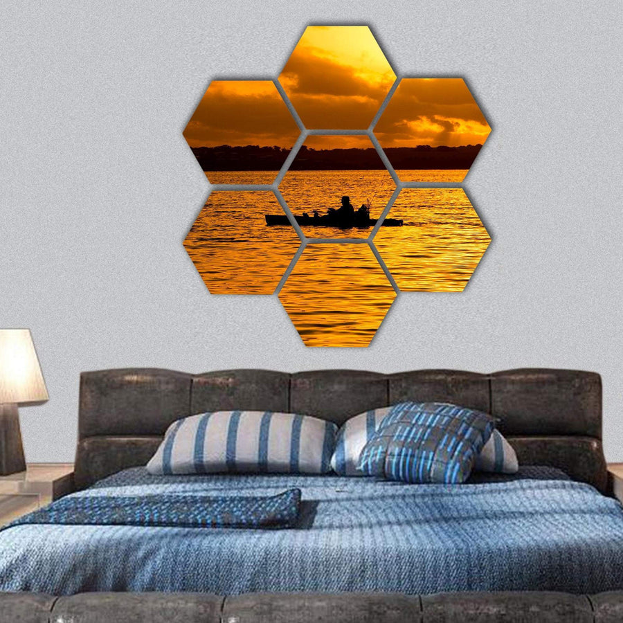 Fisherman Silhouette In Kayak And Orange Lake Sunset Hexagonal Canvas Wall Art 1 Hexa / Small / Gallery Wrap Tiaracle