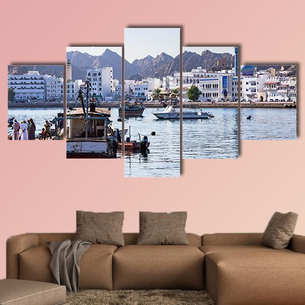Fishermen At Muttrah Fish Docks In Muscat Oman Multi Panel Canvas Wall Art 3 Pieces / Small / Canvas Tiaracle