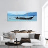 Fishing Boat In The Sea Panoramic Canvas Wall Art 3 Piece / Small Tiaracle