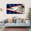 Flag Of American Samoa Multi Panel Canvas Wall Art 5 Horizontal / Small / Gallery Wrap Tiaracle
