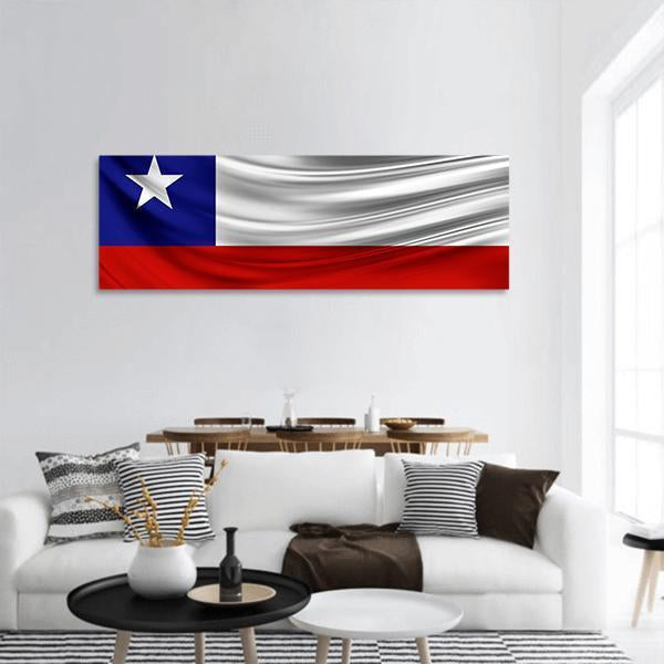 Flag Of Chile Panoramic Canvas Wall Art 3 Piece / Small Tiaracle