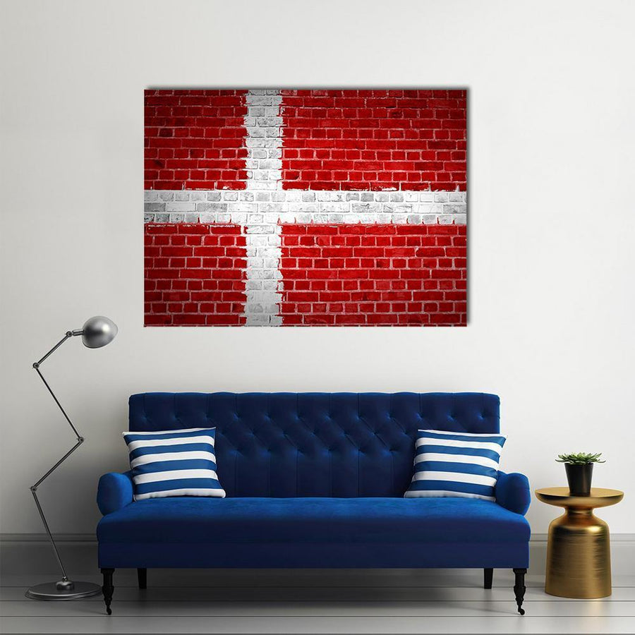 Flag Of Denmark Multi Panel Canvas Wall Art 4 Horizontal / Small / Gallery Wrap Tiaracle