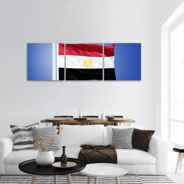 Flag Of Egypt Against Blue Sky Panoramic Canvas Wall Art 1 Piece / Small Tiaracle