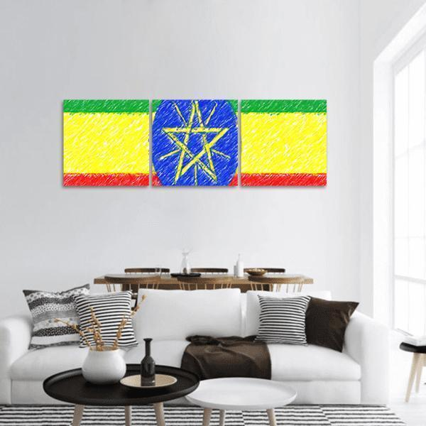Flag Of Ethiopia Panoramic Canvas Wall Art Tiaracle
