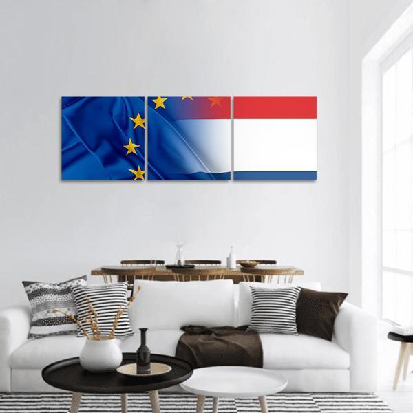 Flag Of European Union and Netherlands Panoramic Canvas Wall Art Tiaracle
