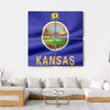 Flag Of Kansas Multi Panel Canvas Wall Art 4 Square / Small / Gallery Wrap Tiaracle
