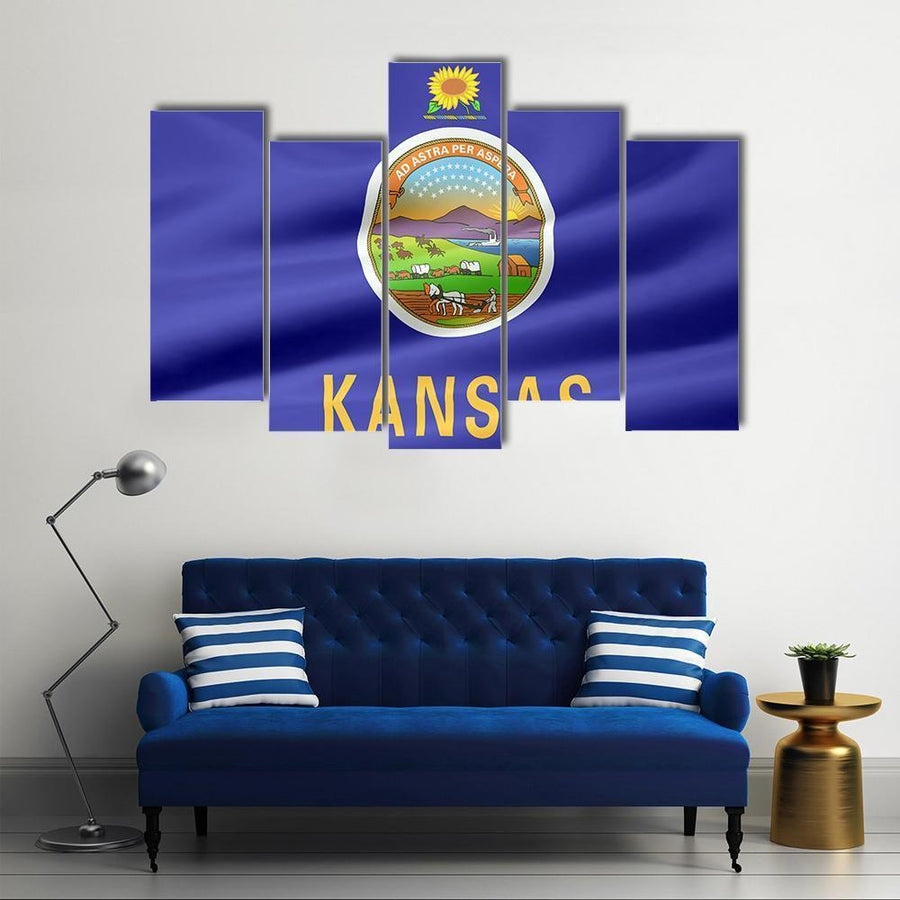 Flag Of Kansas Multi Panel Canvas Wall Art 3 Pieces / Medium / Canvas Tiaracle