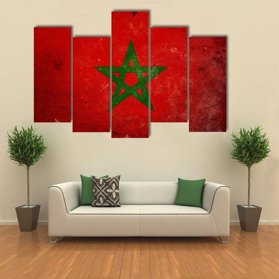 Flag Of Morocco Multi Panel Canvas Wall Art 5 Pieces(B) / Medium / Canvas Tiaracle