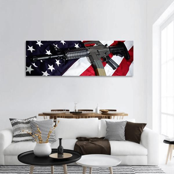 Flag Of The USA With Rifle Panoramic Canvas Wall Art 3 Piece / Small Tiaracle