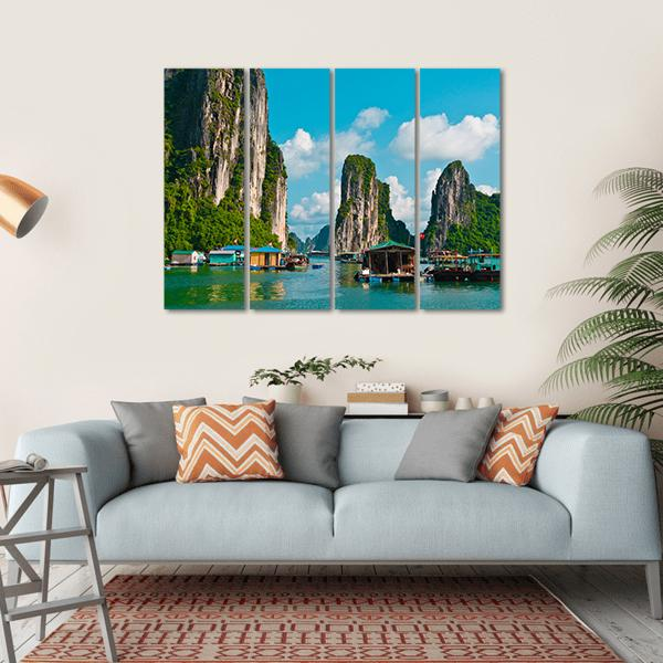 Floating Fishing Village Multi Panel Canvas Wall Art 1 Piece / Small / Gallery Wrap Tiaracle