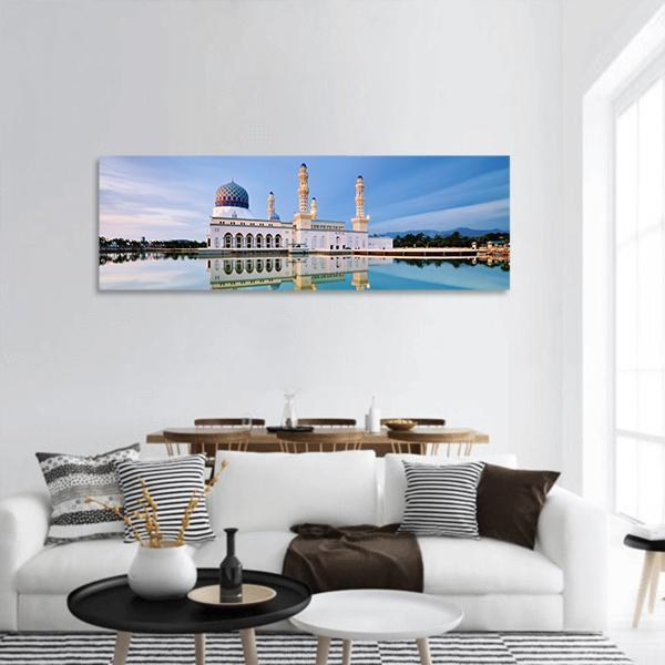 Floating Mosque In Kota Kinabalu City Panoramic Canvas Wall Art 3 Piece / Small Tiaracle