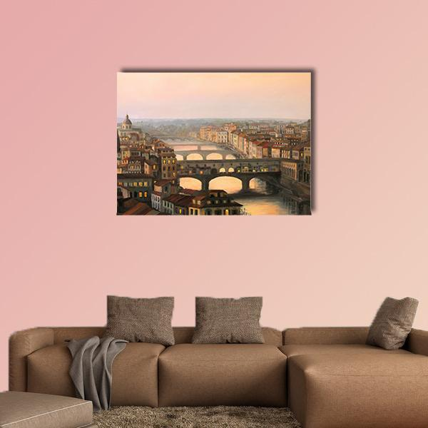 Florence With The River And Ponte Vecchio In Warm Light Multi Panel Canvas Wall Art 4 Pieces / Medium / Canvas Tiaracle