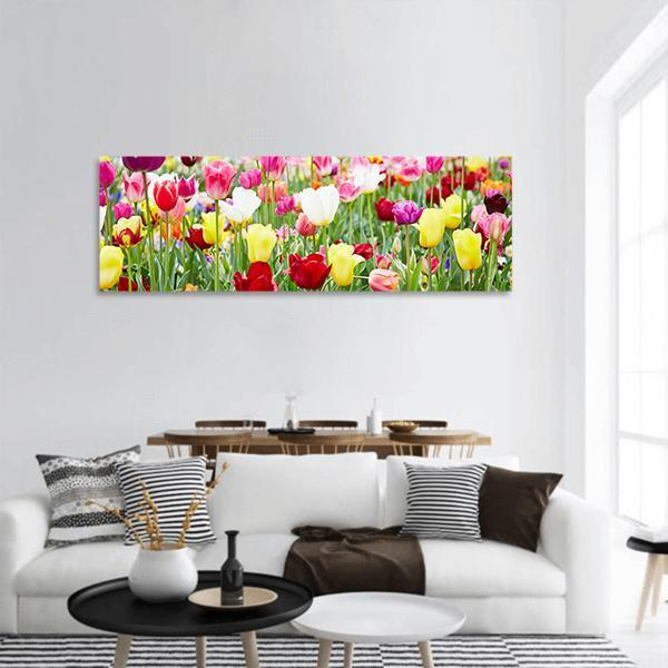 Flowers And Blooming Tulips Panoramic Canvas Wall Art 3 Piece / Small Tiaracle