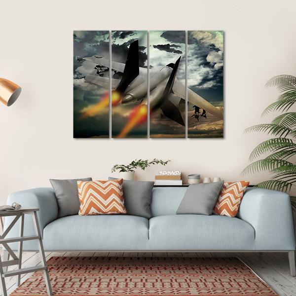 Flying Fighter Jet Multi Panel Canvas Wall Art 1 Piece / Small / Gallery Wrap Tiaracle