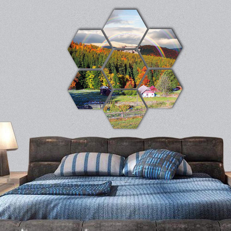 Forests Over The Mountain Villages Of Carpathians Hexagonal Canvas Wall Art 1 Hexa / Small / Gallery Wrap Tiaracle
