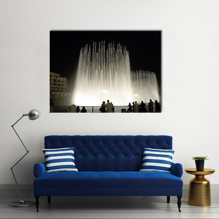 Fountains In Dubai Multi Panel Canvas Wall Art 4 Square / Small / Gallery Wrap Tiaracle