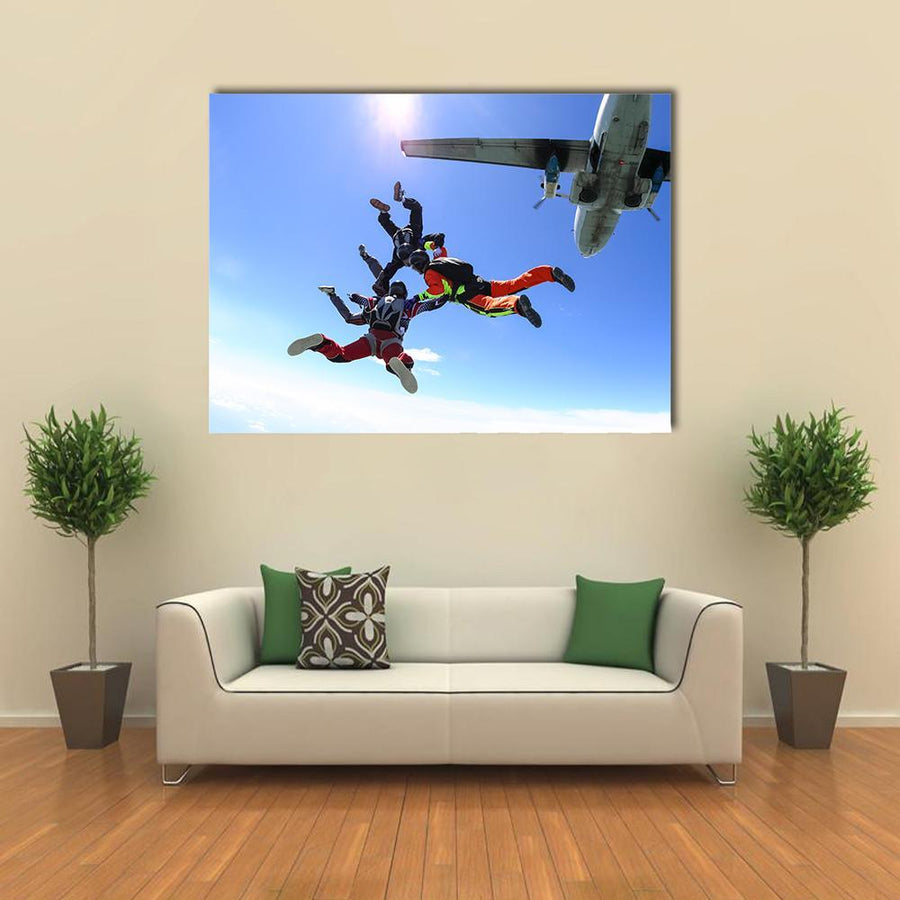 Four Parachutists Jumping Out Of An Airplane Canvas Panel Painting Tiaracle