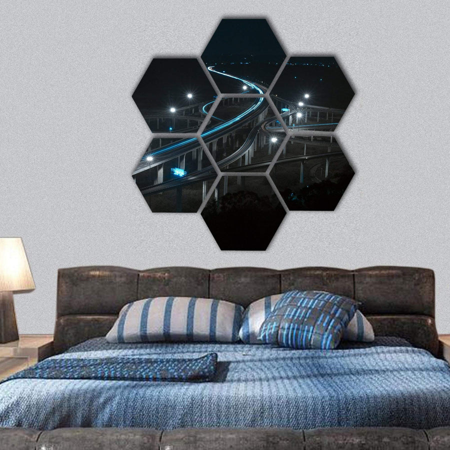 Freeway In Night With Cars Light Hexagonal Canvas Wall Art 1 Hexa / Small / Gallery Wrap Tiaracle