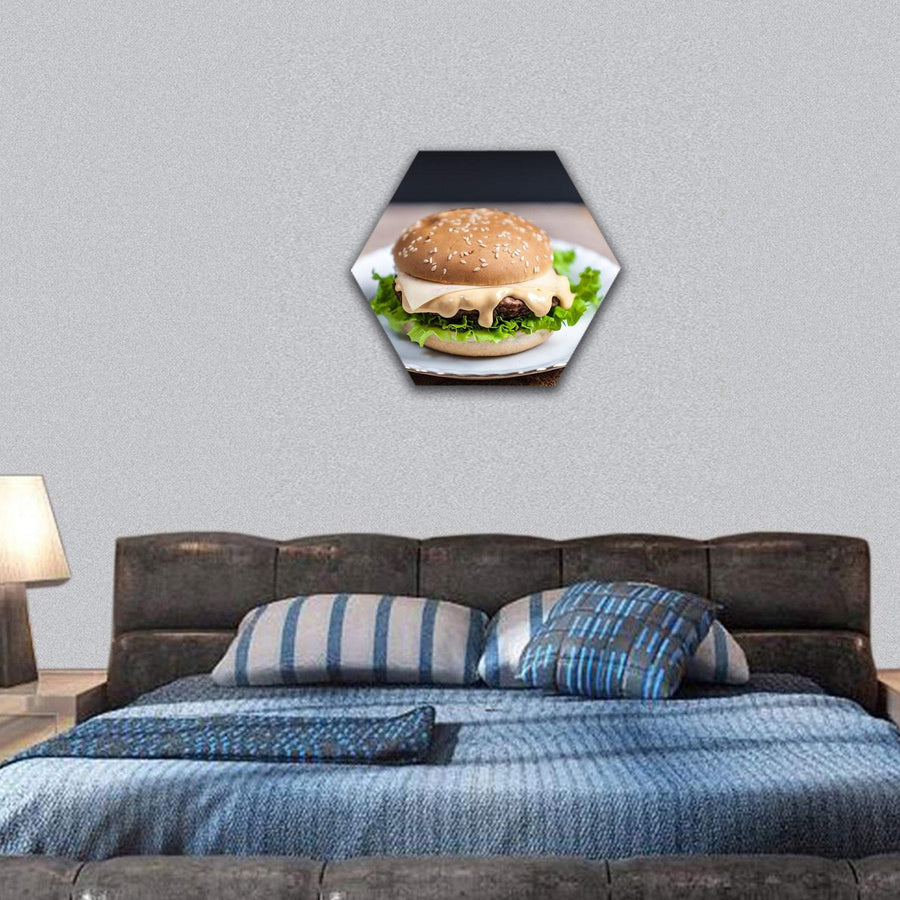 French Fries Chips With Tasty Burger Hexagonal Canvas Wall Art 7 Hexa / Small / Gallery Wrap Tiaracle