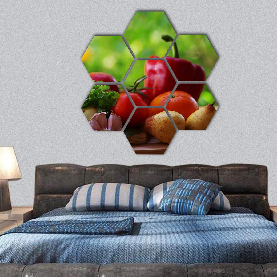 Fresh Fruits With Vegetables Hexagonal Canvas Wall Art 1 Hexa / Small / Gallery Wrap Tiaracle
