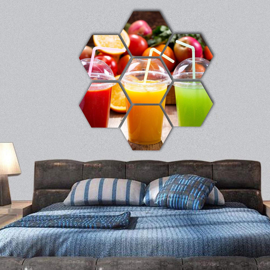 Fresh Juices With Fruits And Vegetables Hexagonal Canvas Wall Art Tiaracle