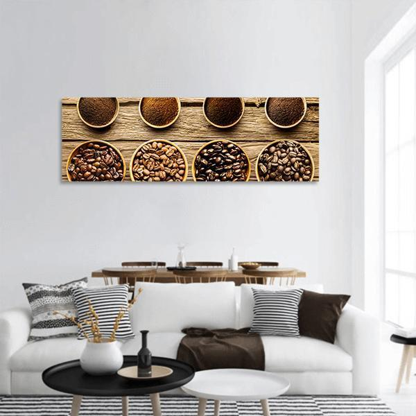 Fresh Roast Coffee Beans Panoramic Canvas Wall Art 3 Piece / Small Tiaracle