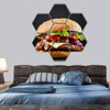 Fresh Tasty Burger Hexagonal Canvas Wall Art 7 Hexa / Small / Gallery Wrap Tiaracle