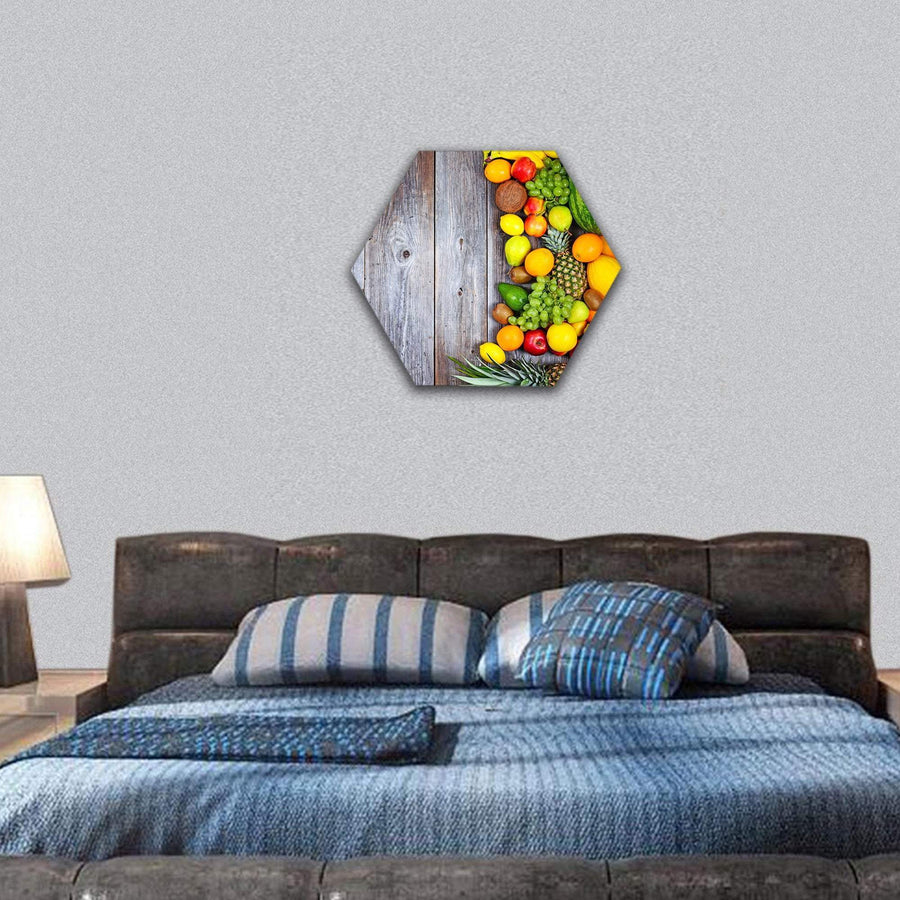 Fresh Vegetables And Fruit Hexagonal Canvas Wall Art 7 Hexa / Small / Gallery Wrap Tiaracle
