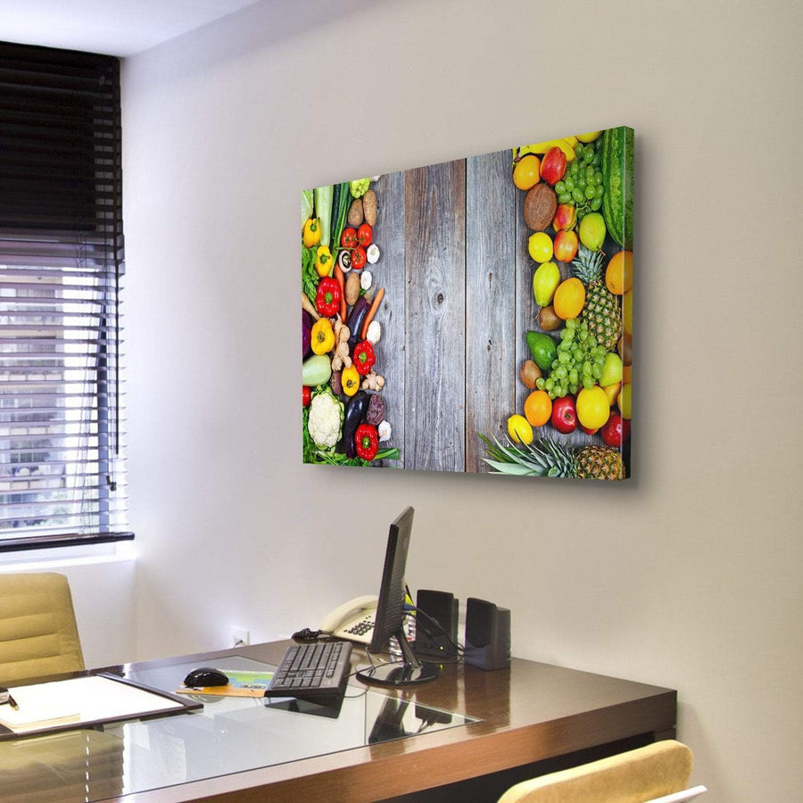 Huge Group Of Fresh Vegetables And Fruit Canvas Panel Painting Tiaracle