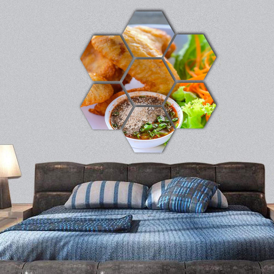 Fried Chicken With Vegetables And Dipping Sauce Hexagonal Canvas Wall Art 1 Hexa / Small / Gallery Wrap Tiaracle