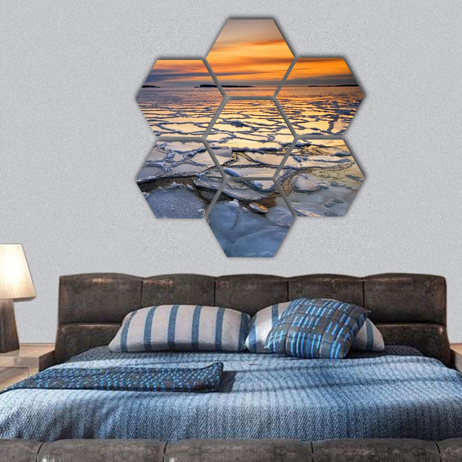 Frozen Ice Floats In Sea Coast Hexagonal Canvas Wall Art 1 Hexa / Small / Gallery Wrap Tiaracle