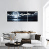 Full Moon On Sea At Night Panoramic Canvas Wall Art 3 Piece / Small Tiaracle
