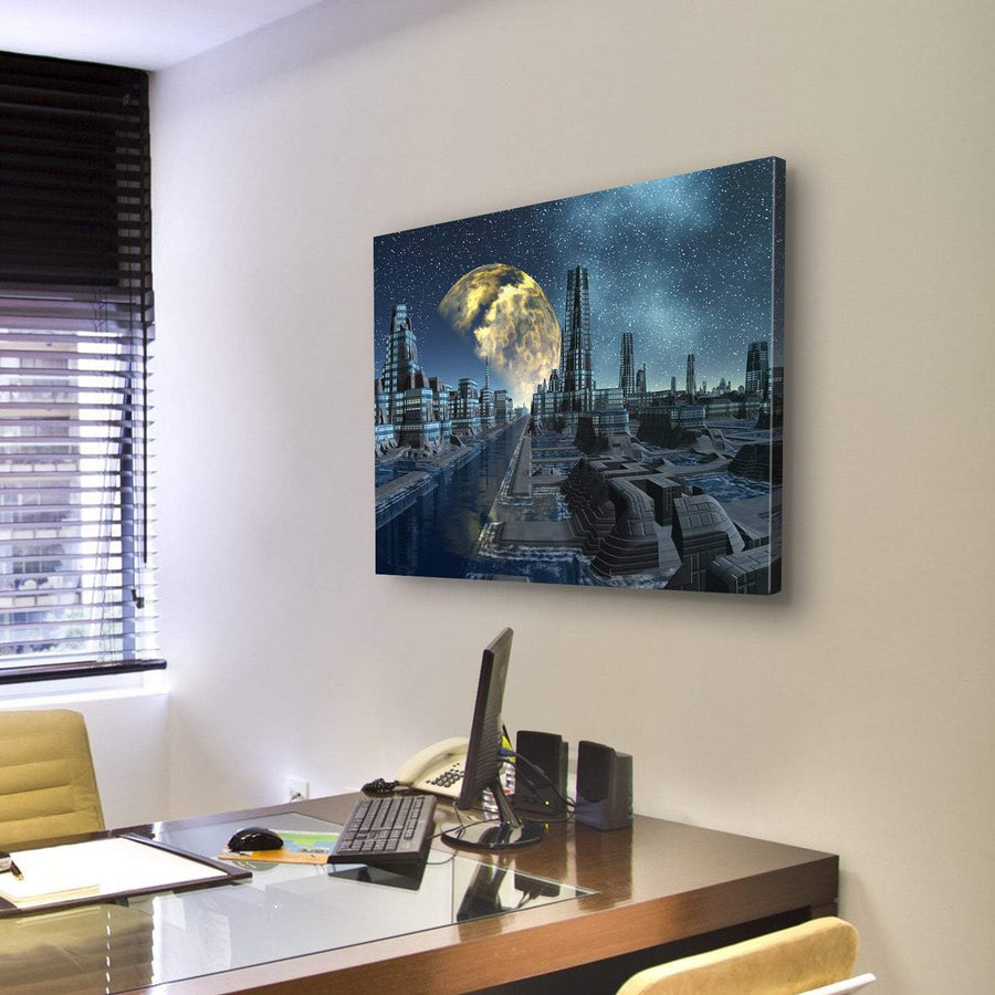 Futuristic Alien City Base Canvas Panel Painting Tiaracle