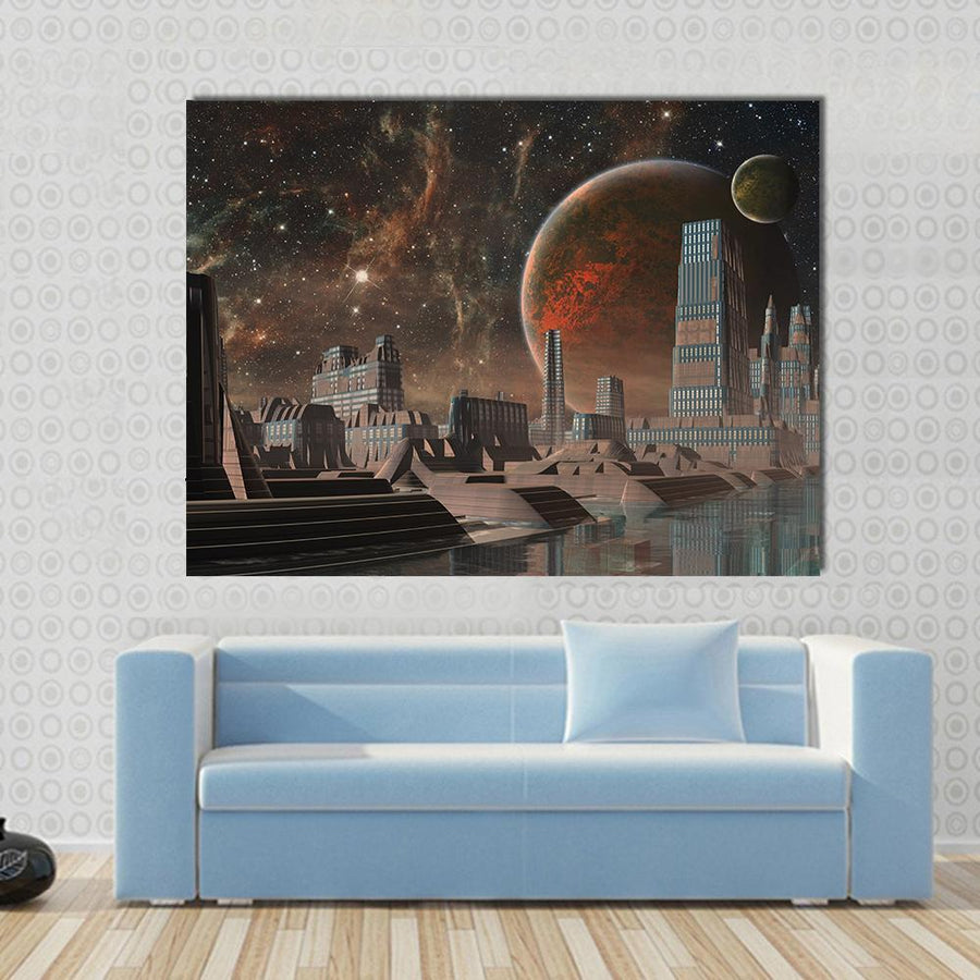 Futuristic Alien City Canvas Panel Painting Tiaracle