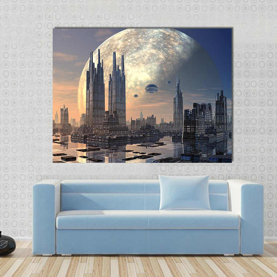 Futuristic Alien City On Water Planet Canvas Panel Painting Tiaracle