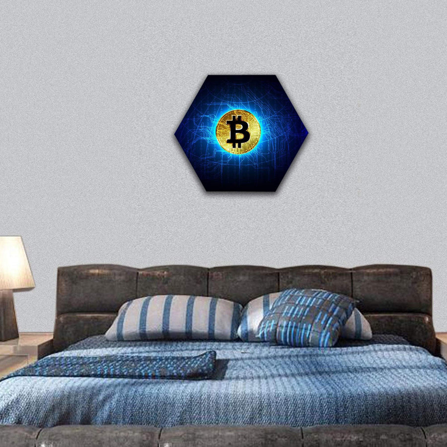 Futuristic Digital Money Technology Hexagonal Canvas Wall Art 7 Hexa / Small / Gallery Wrap Tiaracle