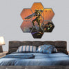 Futuristic Soldier With Gun Hexagonal Canvas Wall Art 7 Hexa / Small / Gallery Wrap Tiaracle