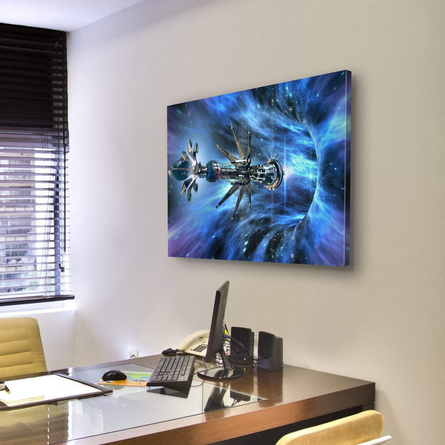 Futuristic Spacecraft Entering A Wormhole Multi Panel Canvas Wall Art 4 Pieces / Medium / Canvas Tiaracle