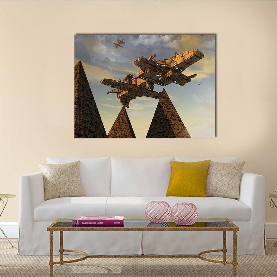 Futuristic UFO Canvas Wall Art-4 Horizontal-Small-Gallery Wrap-Tiaracle