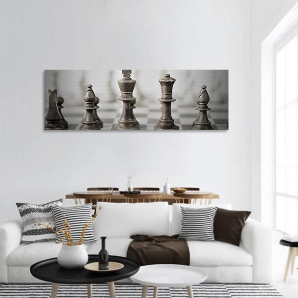 Game Of Chess Panoramic Canvas Wall Art 3 Piece / Small Tiaracle