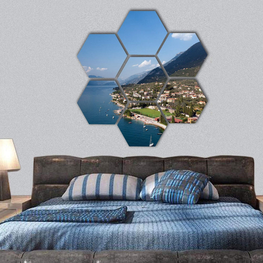 Garda Lake In Italy Hexagonal Canvas Wall Art 1 Hexa / Small / Gallery Wrap Tiaracle