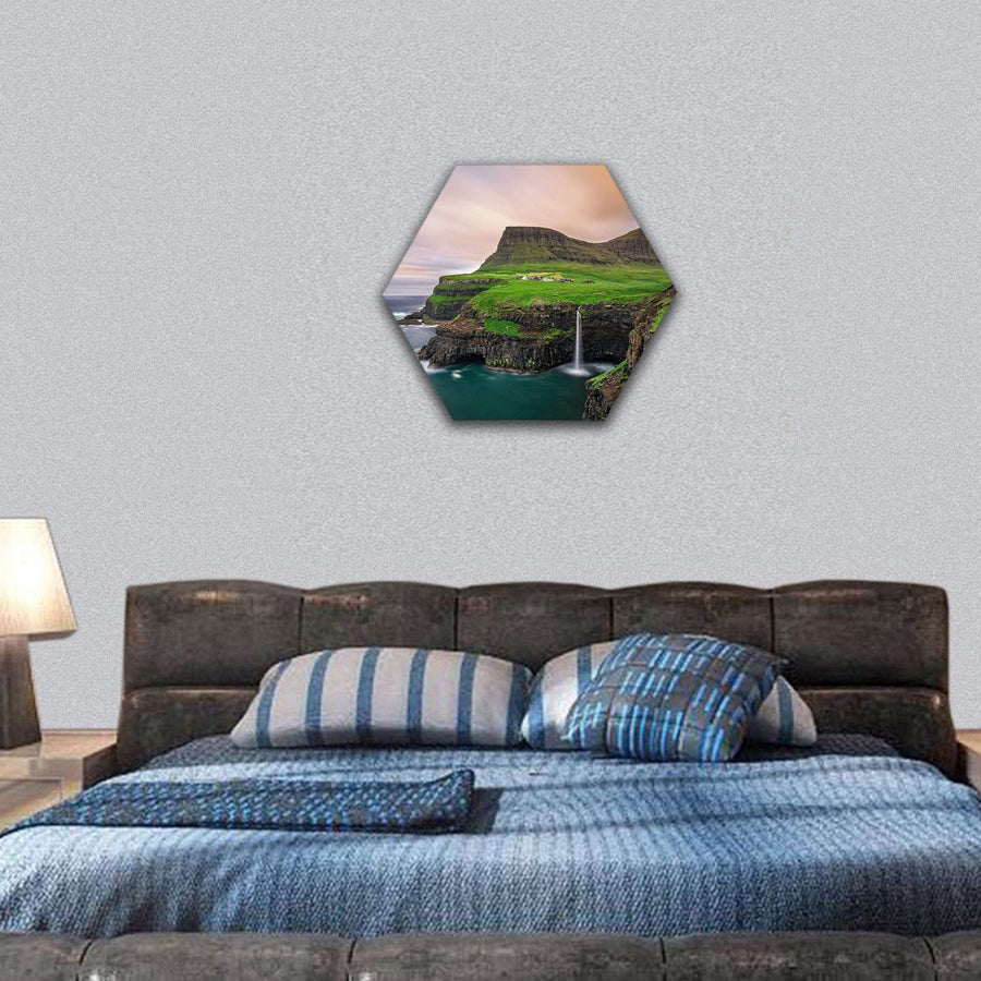 Gasadalur Village And Waterfall In Faroe Island Hexagonal Canvas Wall Art 7 Hexa / Small / Gallery Wrap Tiaracle