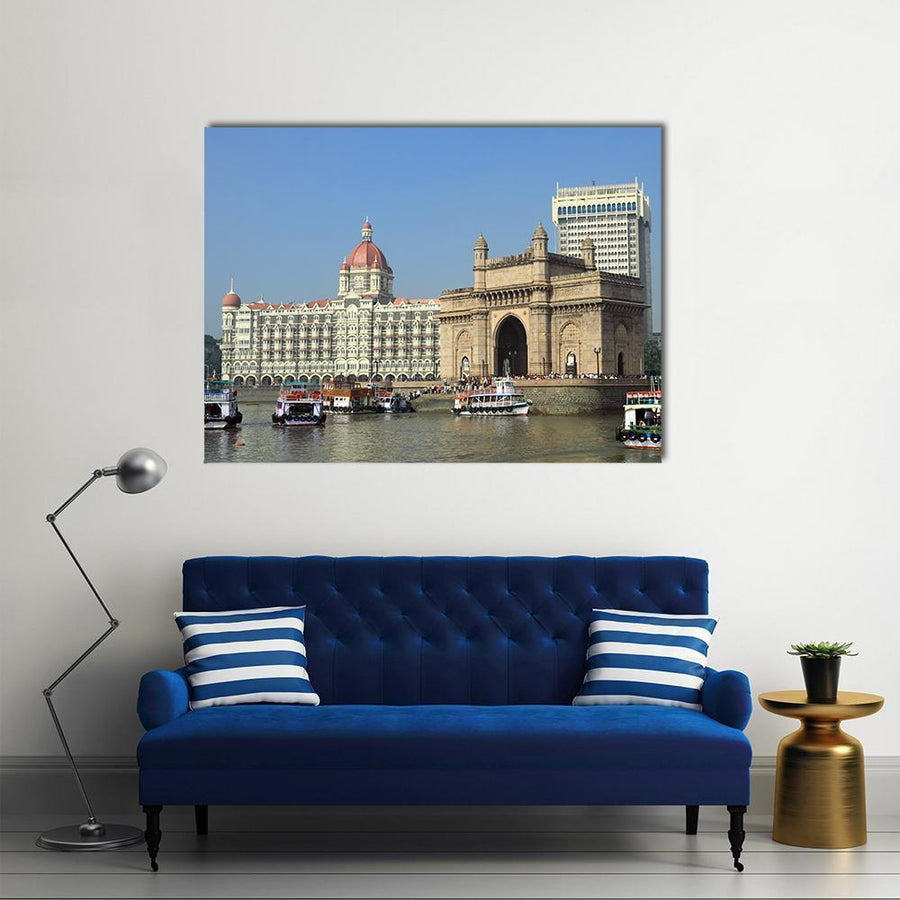 Gate Of India And Hotel Taj Mahal Multi Panel Canvas Wall Art 4 Horizontal / Small / Gallery Wrap Tiaracle